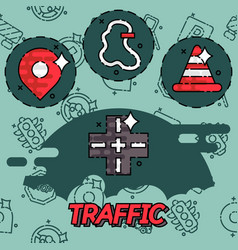 Traffic flat concept icons vector