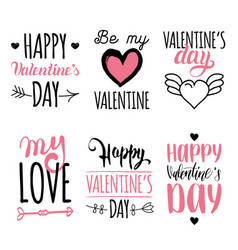 valentines day hand lettering set february vector image