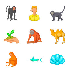 Vital world icons set cartoon style vector