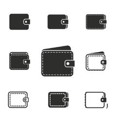 Wallet icon set vector image