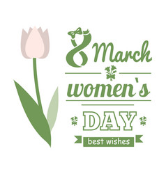 white tulip womens day best wishes card vector image