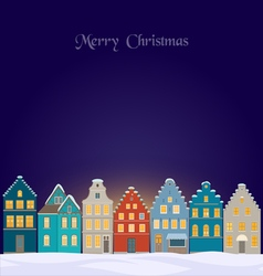 Winter background with old town at night vector