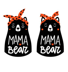 with bears in red headbands and lettering text vector image
