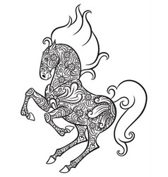 zentangle ornate horse vector image