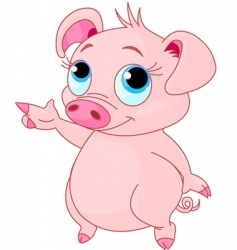 baby piglet pointing vector image vector image
