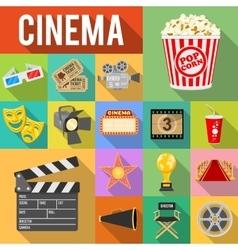 Cinema Flat Icons Set vector image vector image