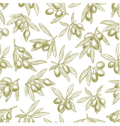 olives branches on olive seamless pattern vector image