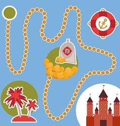 pirate treasure island castle game for Preschool vector image