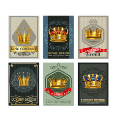 royal crown realistic bannesr set vector image vector image