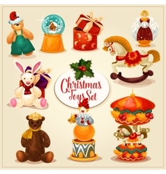 Christmas toy and gift box set for xmas design vector image vector image