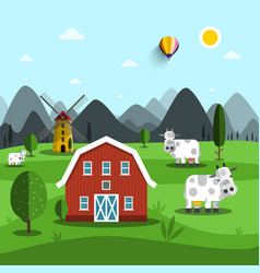 farm cartoon landscape with cows and house vector image vector image