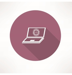 laptop with internet icon vector image