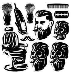 set of different monochrome design elements for vector image