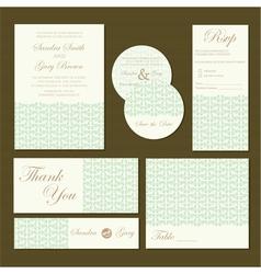 wedding invitations set green vector image vector image