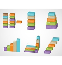 3D abstract options infographics set vector image