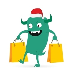 Cartoon cute monsters Christmas sale shopping vector image