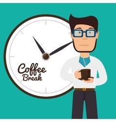 Cartoon man coffee break graphic vector