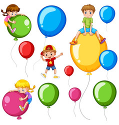 children and colorful balloons vector image vector image