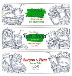Fast food menu special offer sketch banner set vector image