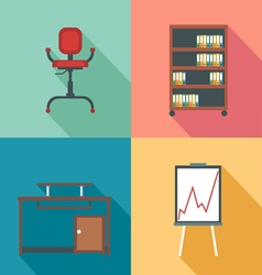 Modern office rurniture set in outlines Digital im vector image vector image