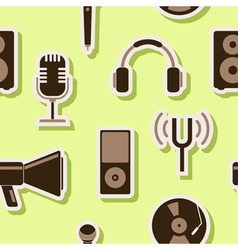 Seamless background with music and audio equipment vector image