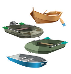 set of boats realistic vector image vector image
