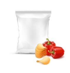 Stack of Potato Chips with Paprika Sealed Bag vector image vector image