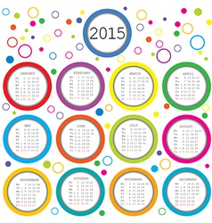 2015 Calendar for kids with colored circles vector image vector image