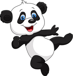 Adorable baby panda isolated on white background vector image vector image