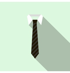 Black necktie on a shirt collar icon flat style vector