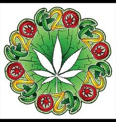 Cannabis hemp white leaf textured background vector image