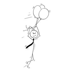 cartoon of business man flying on air balloons vector image