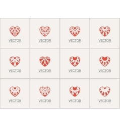 Ornamental Hearts Logos vector image
