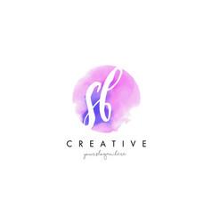 sb watercolor letter logo design with purple vector image vector image