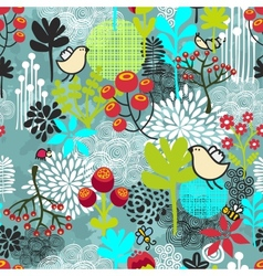 Seamless pattern with birds and flowers vector image