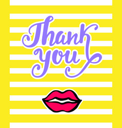 thank you bright card in retro 80s 90s style vector image