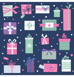 Vintage Christmas Gifts Background vector image