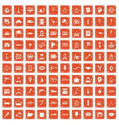 100 work icons set grunge orange vector
