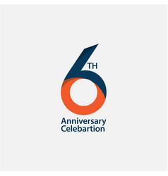 6 th anniversary celebration template design vector