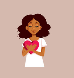 African woman holding a big heart symbol vector