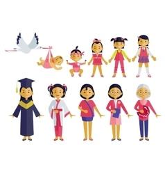 Asian Women Development Stages Set vector