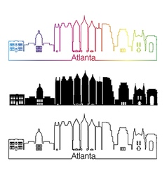 Atlanta V2 skyline linear style with rainbow vector