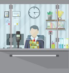 bank teller behind window vector image