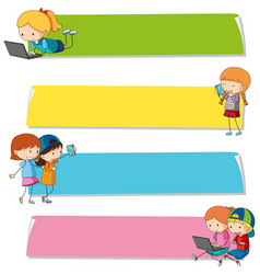 Banner templates with kids on different devices vector