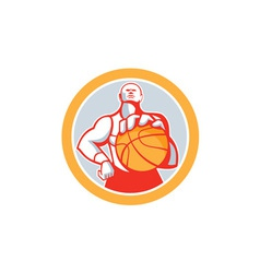 Basketball Player With Ball Circle Retro vector
