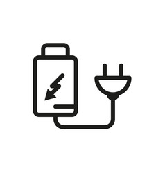 Battery charger by electric plug icon vector