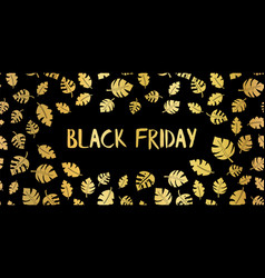 black friday gold foil sale text hand drawn vector image