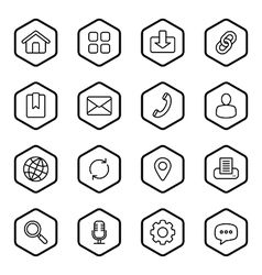 Black line web icon set hexagon vector