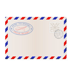Blank envelope with stamp and air mail postmark vector