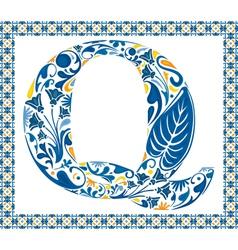 Blue letter Q vector